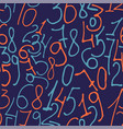 hand drawn numbers seamless pattern vector image