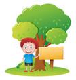 happy boy in the park vector image vector image
