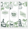 happy easter - color hand drawn square template vector image