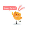 happy easter greeting card with easter chick vector image vector image