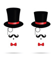 hat cylinder with mustache vector image vector image