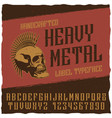heavy metal label typeface poster vector image vector image