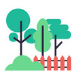 icons of trees bush and wooden fence on white vector image vector image
