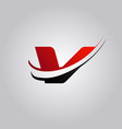 initial v letter logo with swoosh colored red and vector image vector image