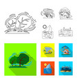 isolated object of natural and disaster sign set vector image