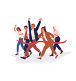 joyful office workers or clerks crossing finish vector image vector image