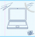 laptop line sketch icon isolated on white vector image