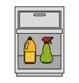laundry drawer with detergent bottles vector image