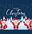 merry christmas calligraphic with santa characters vector image