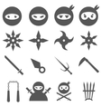Ninja samurai and weapons icons set vector image