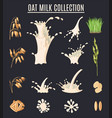 oat milk collection isolated on black background vector image vector image