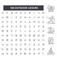outdoor leisure editable line icons 100 vector image vector image