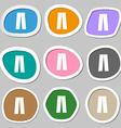 Pants icon symbols Multicolored paper stickers vector image