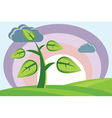 plant sun clouds hills vector image vector image