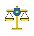 police shield on justice scale law related icon vector image
