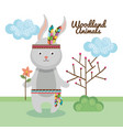 rabbit woodland animal with feather crown vector image vector image