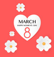 red floral greeting card women s day 8 march vector image