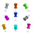set 3d pushpins vector image vector image