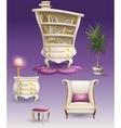 Set cartoon white bedroom furniture and cabinet vector image vector image