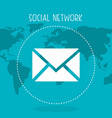 social network with planet and envelope vector image vector image