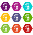 spray gun icons set 9 vector image vector image