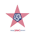star with american flag Abstract design element vector image vector image
