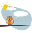 Talking owl on the tree in sunny day vector image vector image