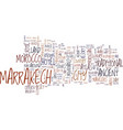 the essence of marrakech morocco text background vector image vector image