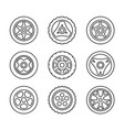 toy car wheels set outline style vehicle disks vector image