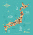 traditional symbols in the form of maps of japan vector image vector image
