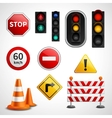 Traffic signs and lights pictograms collection vector image