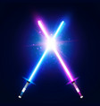 two crossed light neon swords laser sabers war vector image vector image