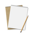 two notebooks with pensil vector image vector image