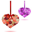 two red and pink hearts from color buttons eps10 vector image vector image
