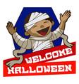 welcome halloween logo cartoon style vector image