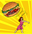 woman throws burger fast food diet and healthy vector image vector image