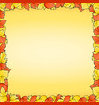 yellow background with frame of red and autumn vector image