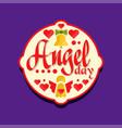 colorful logo or label for angel day celebration vector image