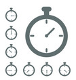 stopwatch icon timer icon grey isolated in differe vector image
