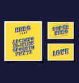 3d hero font lettering and alphabet yellow vector image vector image