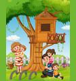 a family at house garden vector image