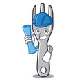 architect fork character cartoon style vector image vector image