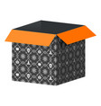 big open box template with halloween pattern vector image vector image