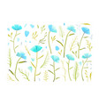 blue flowers romantic collection separate vector image vector image