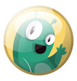 cartoon character of a green monster waving in vector image