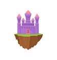 cartoon purple stone island castle on white vector image vector image