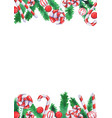 christmas candies with pine leaves watercolor vector image