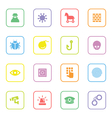colorful flat icon set 7 with rounded rectangle fr vector image vector image