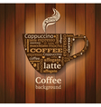 Cup of coffee with word cloud on wooden background vector image
