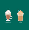 frappuccino and frappe in glass cups on green vector image vector image